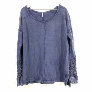 Free People Blue Thermal Lace Cuff Long Sleeve Top